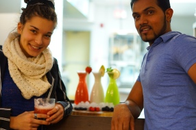 Theva and Ira with smoothies